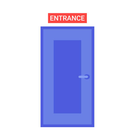 Closed door with a sign entrance. Vector Illustration