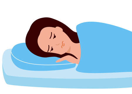Sleepless, woman suffers from insomnia. Young girl with open eyes lying on bed. Sad female awake, tired, depression, anxiety. Vector illustration Illustration