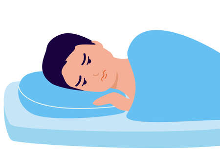 Sleepless, man suffers from insomnia. Young male with open eyes lying on bed. Sad man awake, tired, depression, anxiety. Vector illustration