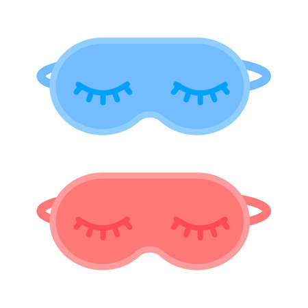 Sleeping mask. Blindfold for travel rest and healthy eye relaxation at night. Blue and red mask for man and woman. Vector illustration