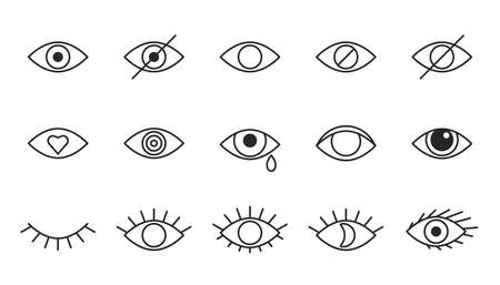Eye line icons, editable strokes. Open, closed eyes, visible invisible concept, hidden password, view minimal, love, cry. Black outline signs Vector Ilustração