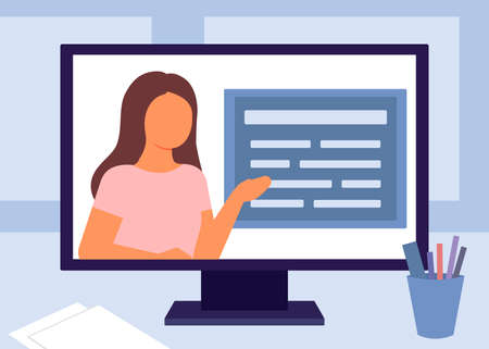 E-learning, internet education. Teacher video communication on computer. Home school, distance learning, online course concept. Vector illustration Ilustração
