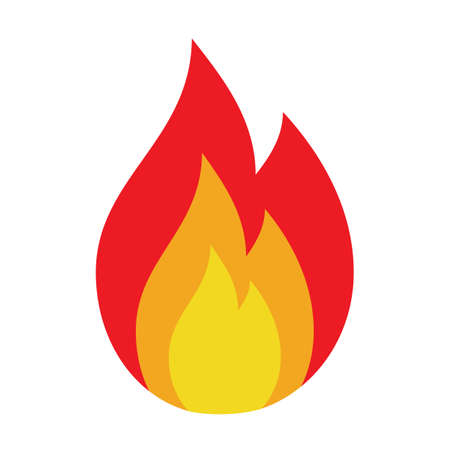 Icon flame, fire, glow. Danger sign, warning attention Vector on white background