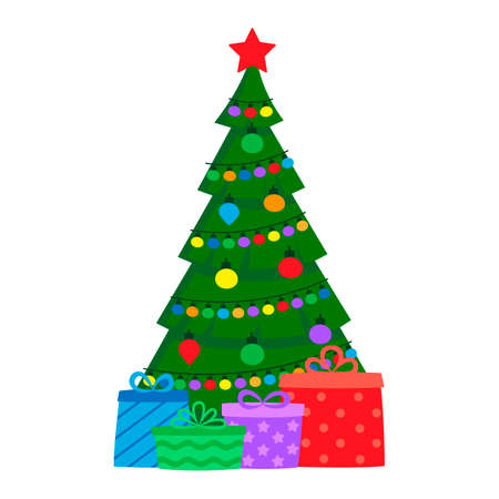 Decorated green fir tree with gifts. Christmas and New Years holiday. Vector Illustration