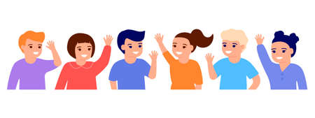 Happy kids waving hands hello. Smiling little children greeting, welcome or goodbye gesture. Young friends, elementary school students, kindergarten pupils boys and girls. Vector illustration