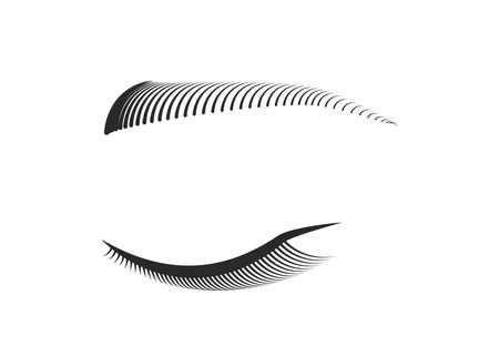 Closed eye with black long false eyelashes and eyebrows. Woman makeup. Editable line. Vector