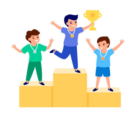 Happy child winner, holding gold trophy, cup. Prize places, awarding of winners. Children are participants of competition. Best kids on podium. Vector flat illustration