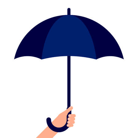 Man holds an umbrella in his hand. Personal rain umbrella. Weather protection. Vector illustration