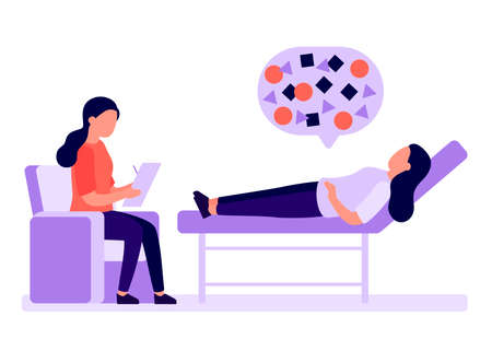Psychological counseling, psychoanalysis. Client lies on couch, psychologist analyzes. Service of psychological help, psychotherapy, psychology. Patient consultation, problem solving Vector
