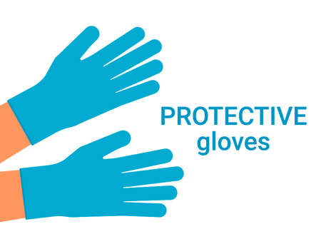 Protection of human hands with individual gloves from viruses and bacteria. Hands of people in protective gloves. Vector illustration