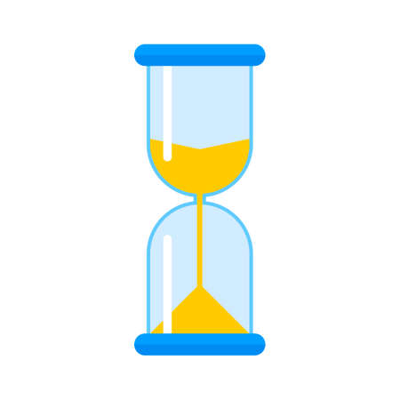 Hourglass in glass flask. Countdown, deadline, time concept Vector illustration
