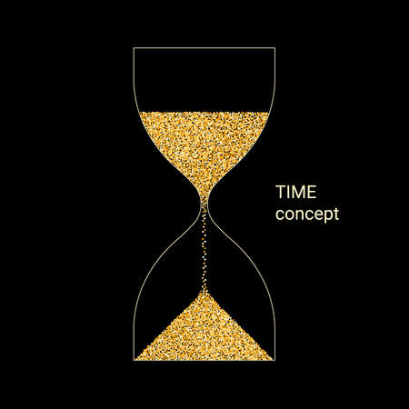 Hourglass from gold light particles. Countdown, flowing time concept. Vector on black
