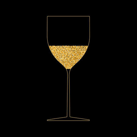 Wine glass gold outline. Festive drink, champagne, drink with bubbles. Glowing yellow liquid in glass. Vector illustration on black background