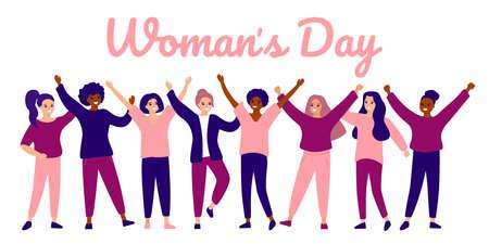 Happy group female of different ethnicity. International womens day. Women empowerment movement. Vector flat illustration Ilustração
