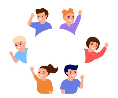Happy kids waving hands hello, stand in border circle copy space. Smiling children greeting, welcome or goodbye gesture. Friends, elementary school students, kindergarten boys and girls. Vector flat Ilustração