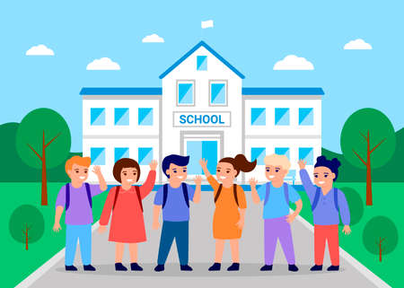 Children are going to school to study. Back to school concept. Learning and education of boys and girls. Vector illustration