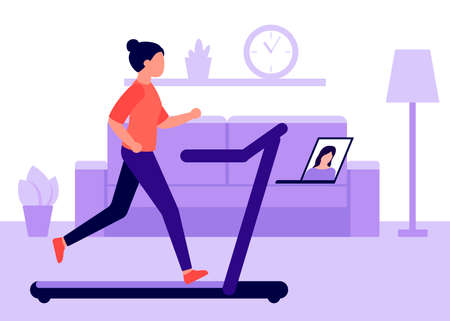 Young woman runs on running track at home and watches video on laptop. Videoconference in sports, communication. Sports activities at home. Vector flat illustration
