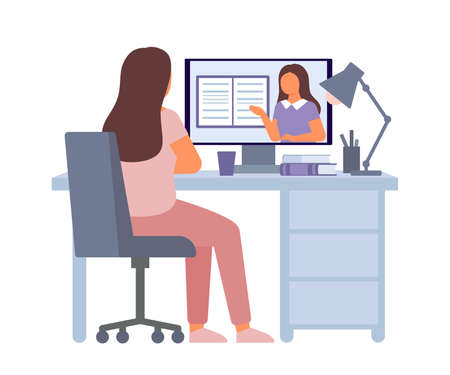 Online education and distance learning at home concept. Computer video conferencing to woman teacher. Video call online meeting. Workspace, remote work, collective virtual meeting. Vector Illustration