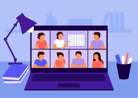 Online education and distance learning at home concept. Laptop video conferencing to woman teacher. Video call online meeting. Workspace, remote work, collective virtual meeting. Vector
