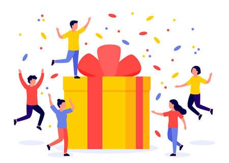 Gift box and group of happy people. Reward, prize, giveaway, bonus. Referral program. Vector flat illustration