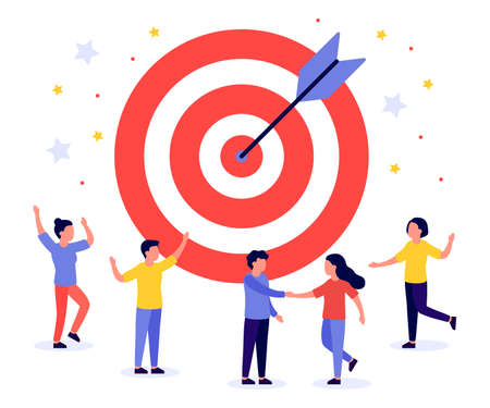 Business target with arrow and people. Teamwork, goal, motivation, target achievement, successful concept. Hit right on target, on bullseye. Game dart. Vector flat illustration Illustration