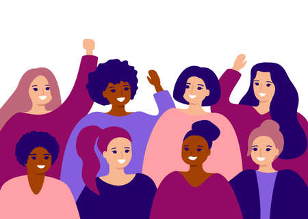 Happy group female of different ethnicity. International womens day. Women empowerment movement, friendship. Vector flat illustration