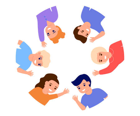 Happy kids waving hands hello, stand in border circle copy space. Smiling children greeting, welcome or goodbye gesture. Friends, elementary school students, kindergarten boys and girls. Vector flat Illustration