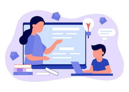 Learn distance. Pupils boy is sitting on laptop and studying lesson. Child learns remotely. Home school, web e-learning, online education, knowledge concept. Vector flat style