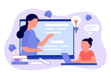 Learn distance. Pupils girl is sitting on laptop and studying lesson. Child learns remotely. Home school, web e-learning, online education, knowledge concept. Vector flat style Illustration