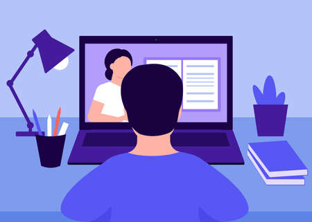 Online education and distance learning at home, rear view boy. Home school. Laptop video conferencing to woman teacher. Video call online meeting. Workspace, remote work, virtual meeting. Vector
