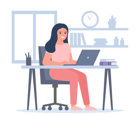 Young woman works on laptops at home. Freelancer girl is self employed. Online education and distance learning at home concept. Video call online meeting. Workspace, remote work. Vector Ilustração
