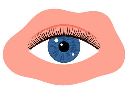 Eye with black long eyelashes. Woman makeup. Editable line. Vector