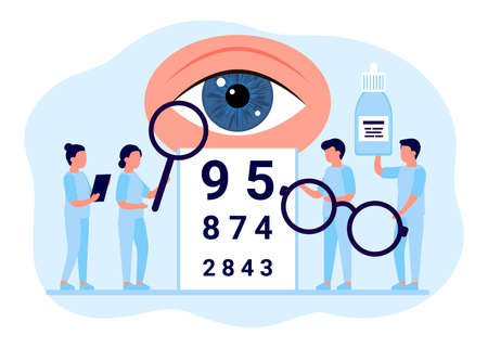 Doctor is checkup eye vision. Examination eyes people, focus correction treatment. Ophthalmology. Optometrist, ophthalmologist, medical staff people with glasses, vision test, eye drops. Vector Illustration