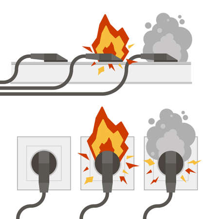 Fire wiring. Electric circuit of cable with fire, smoke, sparks. Sockets with cords. Socket and plug on fire from overload. Short circuit electrical circuit. Broken electrical connection. Vector Illustration
