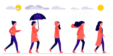 Woman walks outdoors in different autumn weather. Young girl in red coat outside house, sun is shining, cloudy, wind, rain. Woman with an umbrella in rain, cold season. Vector flat