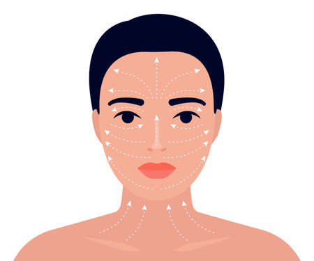 Woman face and neck massage instruction with arrows. Relaxing techniques massage. Apply cream to the face with line massage. Vector flat illustration
