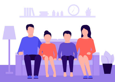 Family couple man, woman and children sitting on couch at home and talking. Living room interior. Mother, father and kids. Rest, recreation, spending time on isolation and quarantine. Vector
