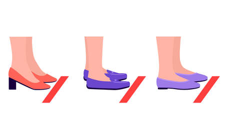 People stand in line behind taped markings for social distance. Legs with shoes and red warning line. Health care concept, preventive measures. Vector flat illustration