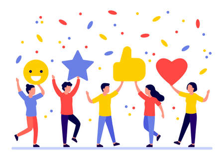 Group of people give rate, feedback, opinion, vote. Man and woman choice, rank satisfaction. Client good review, like. Comment customer. Vector flat illustration