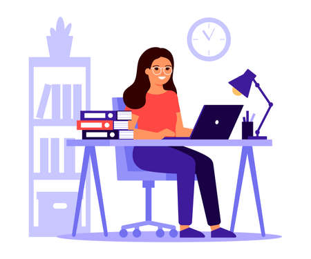 Young woman sitting at table with laptop. Busy woman work with pile of papers in office. Workflow, workspace, remote work. Freelancer girl is employed. Vector illustration