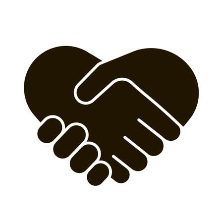 Business handshake icon, contractual agreement, line art. Hands shake, heart and help symbol. Sign contract, partnership, peace. Vector illustration