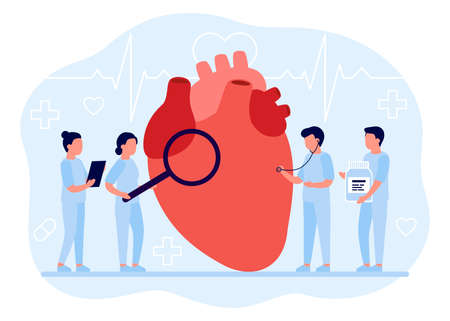Doctors check the health of heart organ. Medical examination of heart. Heart disorders. Cardiology. Vector illustration