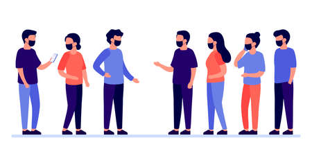 Meeting of group of people with mask for communication, talking, partnership, business relationship. Mutually beneficial cooperation. Negotiations, discussion of team workers. Vector illustration Ilustração