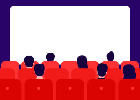 People watching movie in cinema, rear view. Men and women sit in red chairs and watch movies. Watching film on big screen. Vector flat illustration