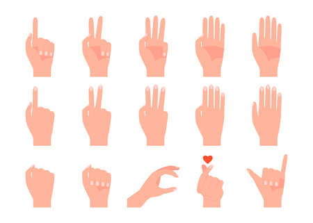 Different gestures of human hands. Finger pointing, touch, fist, victory, shaka, love and numbers. Vector isolated on white background