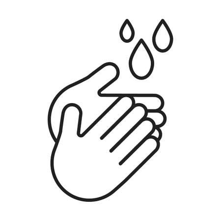 Wash your hands, outline icon, line. Hygiene, disinfection, hand treatment with water, sanitizer. Health care, disease prevention. Clean hands. Vector illustration Ilustração