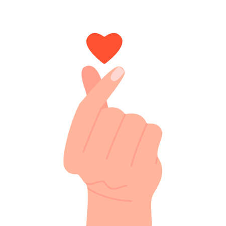 Korean heart sign for love message, hand gesture. Finger love symbol. I love you. Happy Valentines Day. Vector