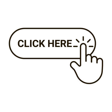 Click here button with hand pointer clicking, editable outline icon. Cursor sign with finger for click. Vector line Stock fotó - 155450283