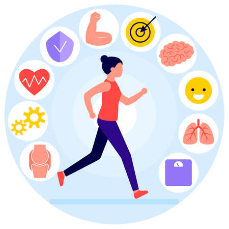 Running woman and useful activity, icons. Sportive girl runs, training. Positive benefits of exercise. Running affects immunity, strength, mood, cardiovascular system, weight, brain activity. Vector