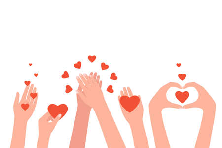 People hands clapping, love, congratulate, good feedback, thanks. Women hands send hearts, like. Concept of charity, donation, help. Hands gesture give and share your love. Vector illustration